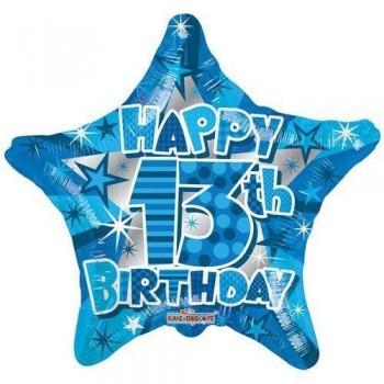 Palloncino Mylar 45 cm. Age 13° Happy Birthday Boy