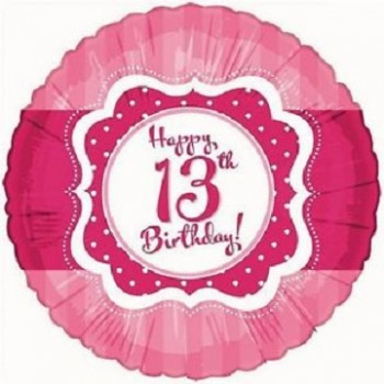 Palloncino Mylar 45 cm. Age 13° Perfect Pink Happy Birthday