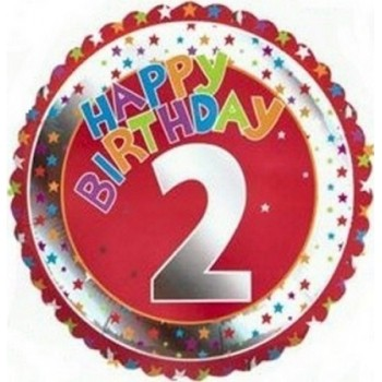 Palloncino Mylar 45 cm. Age 2° Happy Birthday Red - Silver