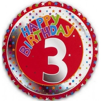 Palloncino Mylar 45 cm. Age 3° Happy Birthday Red - Silver