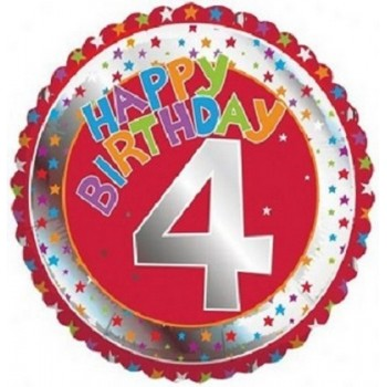 Palloncino Mylar 45 cm. Age 4° Children's Milestone Happy Birthday