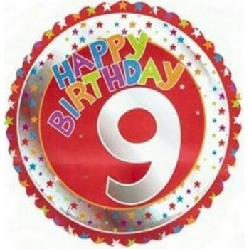 Palloncino Mylar 45 cm. Age 9° Happy Birthday Red - Silver
