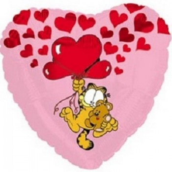 Palloncino Mylar 45 cm. Garfield Pooky Floating Up With Hearts