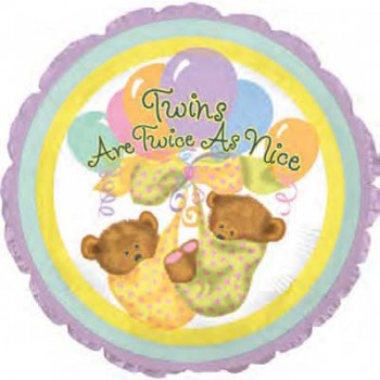 Palloncino Mylar 45 cm. Gemelli - Twins are Twice as Nice Bears