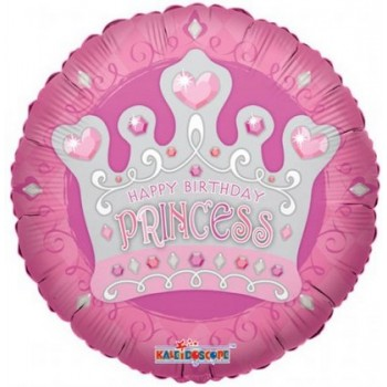 Palloncino Mylar 45 cm. Happy Birthday Princess Tiara