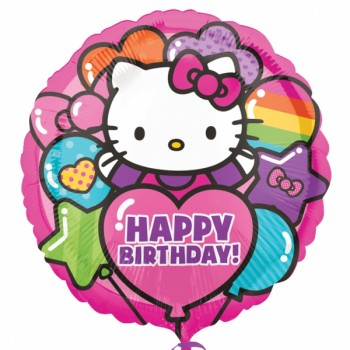 Palloncino Mylar 45 cm. Hello Kitty Rainbow Happy Birthday