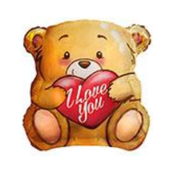 Palloncino Mylar 45 cm. I Love You Bear With Kiss
