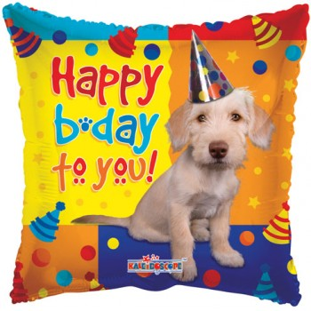 Palloncino Mylar 45 cm. Q - Dog with Party Hat Birthday