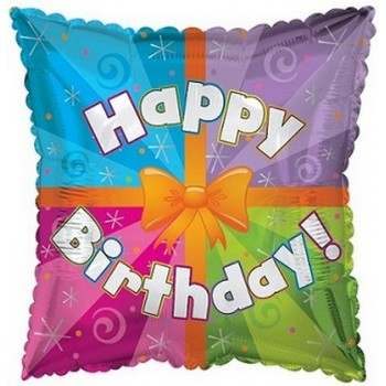 Palloncino Mylar 45 cm. Q - Happy Birthday Day Colorfull Present