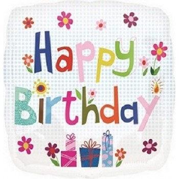 Palloncino Mylar 45 cm. Q - Happy Birthday Dots