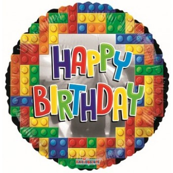 Palloncino Mylar 45 cm. R - Birthday Building Bricks