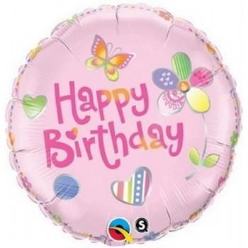Palloncino Mylar 45 cm. R - Birthday Butterflies