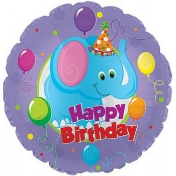 Palloncino Mylar 45 cm. R - Birthday Party Elephant