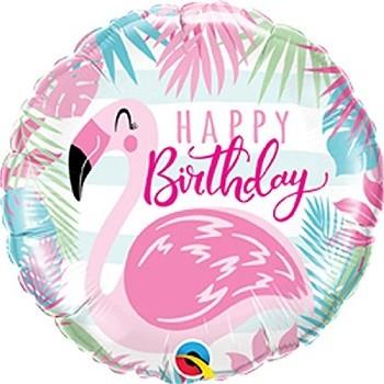 Palloncino Mylar 45 cm. R - Birthday Pink Flamingo