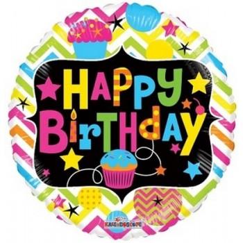 Palloncino Mylar 45 cm. R - Birthday with Cupcake Neon Gellibean