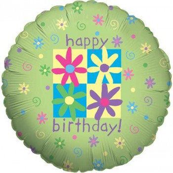 Palloncino Mylar 45 cm. R - Flowers & Phrases Birthday