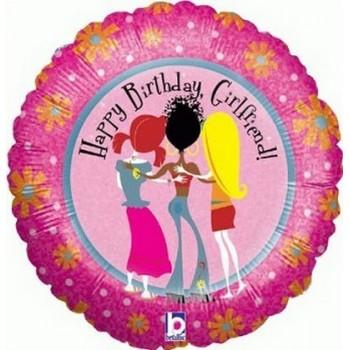 Palloncino Mylar 45 cm. R - Happy Birthday Girlfriend Holographic