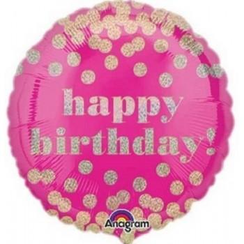 Palloncino Mylar 45 cm. R - Happy Birthday Pink Confetti Gold Dots