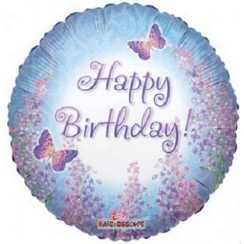 Palloncino Mylar 45 cm. R - Happy Birthday Purple Lilacs