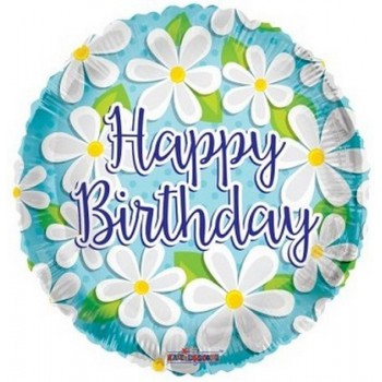 Palloncino Mylar 45 cm. R - Happy Birthday White Daisies