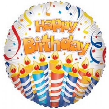 Palloncino Mylar 45 cm. R - Happy Cake & Candles Birthday