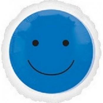 Palloncino Mylar 45 cm. Smiley Blu