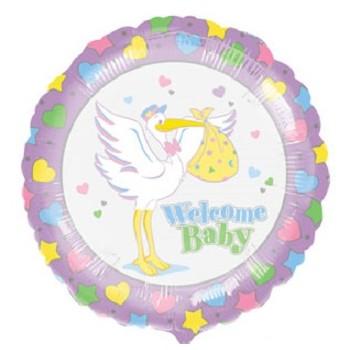 Palloncino Mylar 45 cm. Stork Welcome Baby
