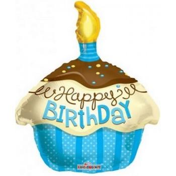 Palloncino Mylar 45 cm. T - Cupcake Blue Happy Birthday
