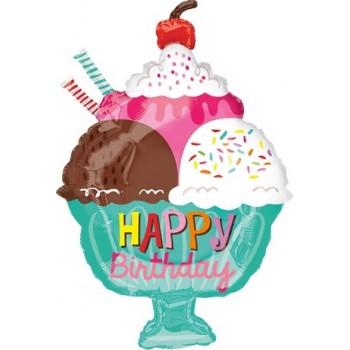 Palloncino Mylar Extra 58 cm. T - Happy Birthday Coppa Gelato Sundae