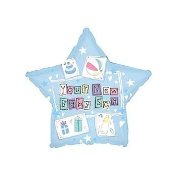 Palloncino Mylar Mini Shape 22 cm. Boy - New Baby Son Star