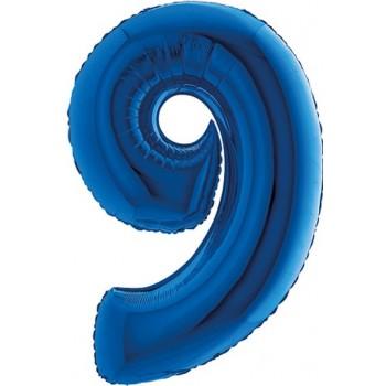 Palloncino Mylar Numero Maxi Blu 9 - 100 cm.