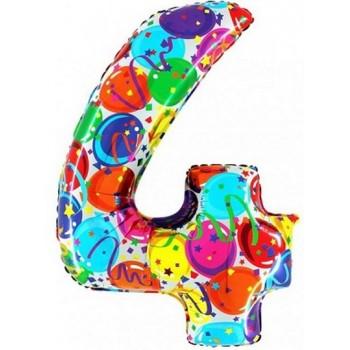 Palloncino Mylar Numero Maxi Multicolor 4 - 100 cm.