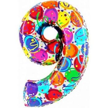 Palloncino Mylar Numero Maxi Multicolor 9 - 100 cm.