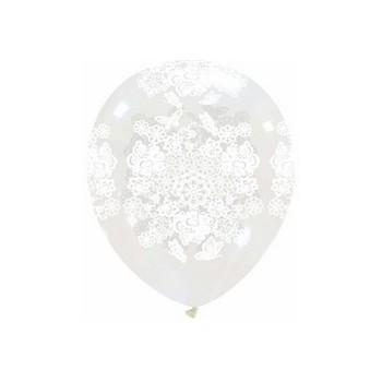 Palloncino in Lattice Rotondo 12,5 cm. Stampa Cuori e Rose Trasparente