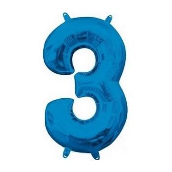 Palloncino Mylar Numero Medio Blu 3 - 41 cm.