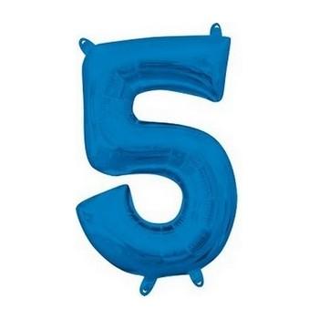 Palloncino Mylar Numero Medio Blu 5 - 41 cm.