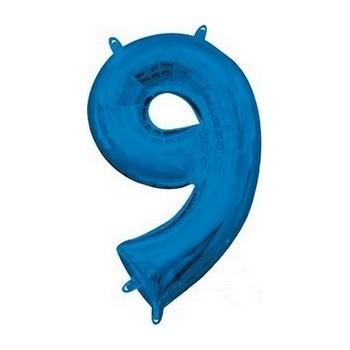 Palloncino Mylar Numero Medio Blu 9 - 41 cm.