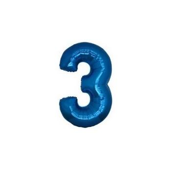Palloncino Mylar Numero Micro 3 - Blu - 17 cm.