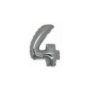 Palloncino Mylar Numero Micro 4 - Argento - 17 cm.