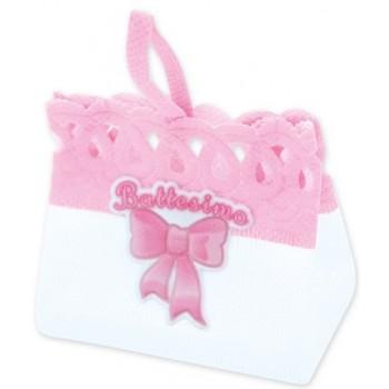 Pesetti per palloncini Battesimo Bambina, sacchettino in stoffa Rosa - 8 x 7 cm