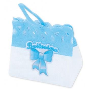 Pesetti per palloncini Battesimo Bambino, sacchettino in stoffa Azzurro - 8 x 7 cm