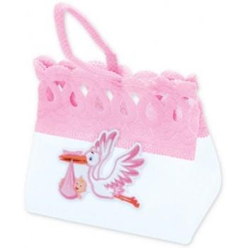 Pesetti per palloncini Nascita Bambina, sacchettino in stoffa Rosa - 8 x 7 cm