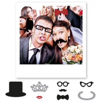 Photo Booth, Matrimonio, 20 cm, 8 Pz.