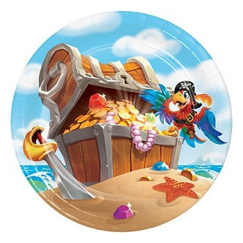 Pirati Pirate Treasure - Piatto Carta 17 cm.- 8 pz.