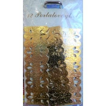 Portatovaglioli in cartone color oro, 12 pz.