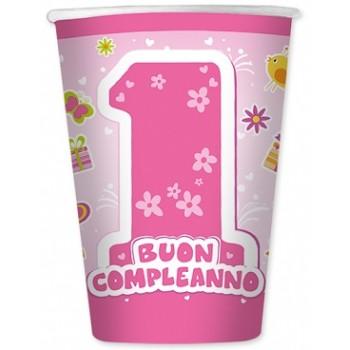 Primo Compleanno Bimba - Bicchiere Carta 200 ml.- 8 pz.