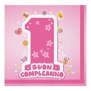 Primo Compleanno Bimba - Tovagliolo 33x33 cm. - 20 pz.