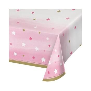Primo Compleanno Bimba One Little Star Girl - Tovaglia Plastica 137 x 274 cm. - 1 pz.