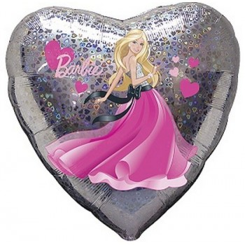 Palloncino Mylar 45 cm. Barbie Hearts Holographic