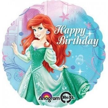 Palloncino Mylar 45 cm. Happy Biirthday Ariel Little Mermaid